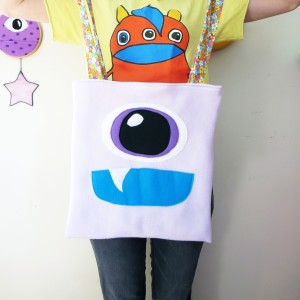 lavender monster trick or treat tote flowers