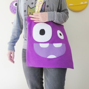 purple monster trick or treat bag