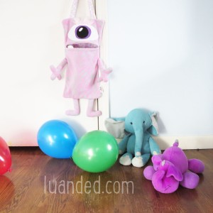 cute pink grey toy holder for kids