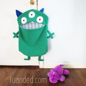 huge big green cute monster toy holder for kids