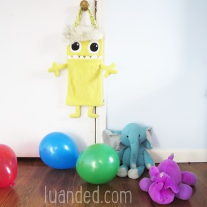kawaii yellow monster toy holder for nursery or babys room