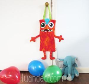 red monster tote bag for kids room
