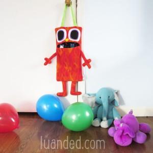 red owl toy holder for nursery babys room