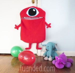 red toy storage monster cute hamper for kids