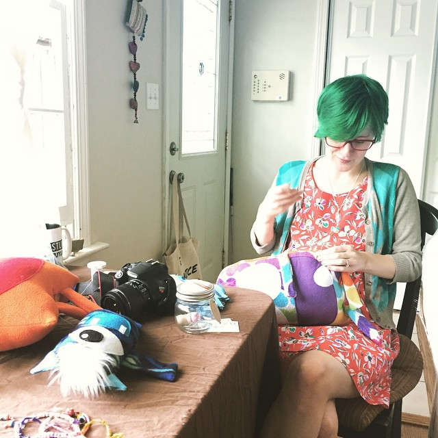 sewing, handmade, monster maker, green hair, manic panic