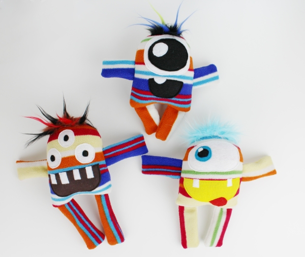 stuffed monsters, toys, ecofriendly toys, upcycle, recycle, monster toys, lu and ed