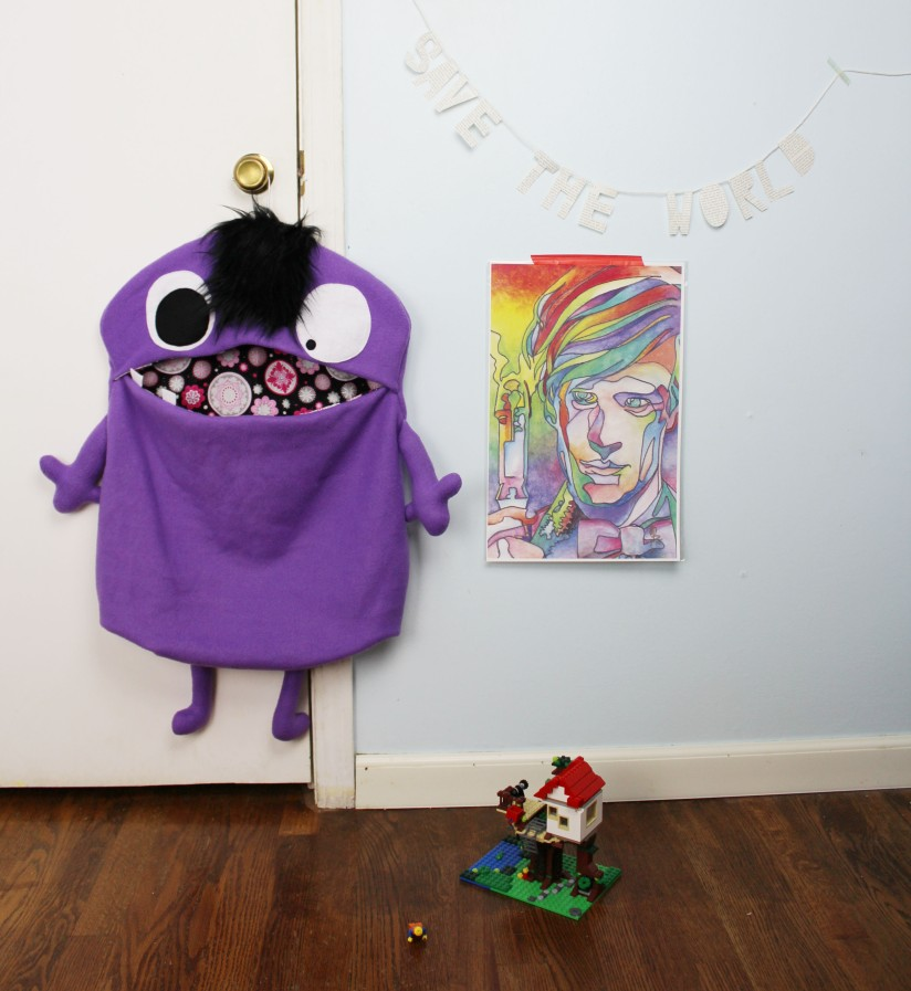 cute purple monster bag to hold toys for kids