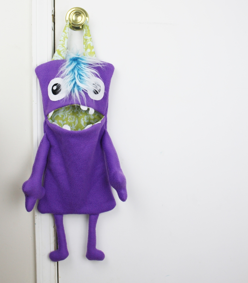 cute purple monster toy holder for kids