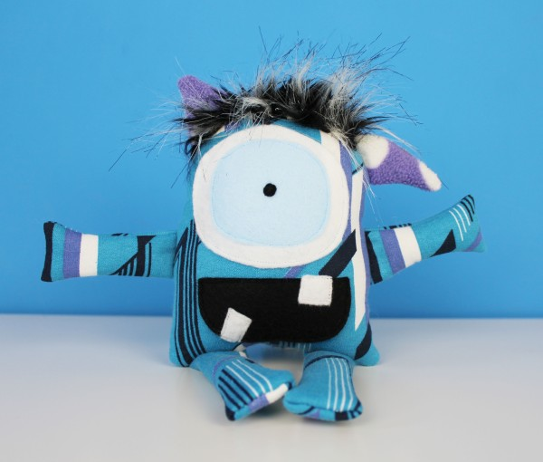 small blue ecofriendly stuffed monster toy