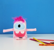 cute pink tiny monster