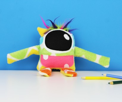handmade rainbow heart stuffed monster