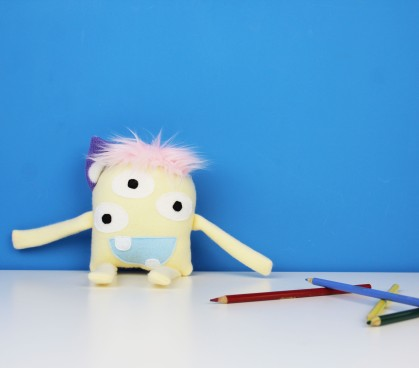 light yellow stuffed monster toy for kids