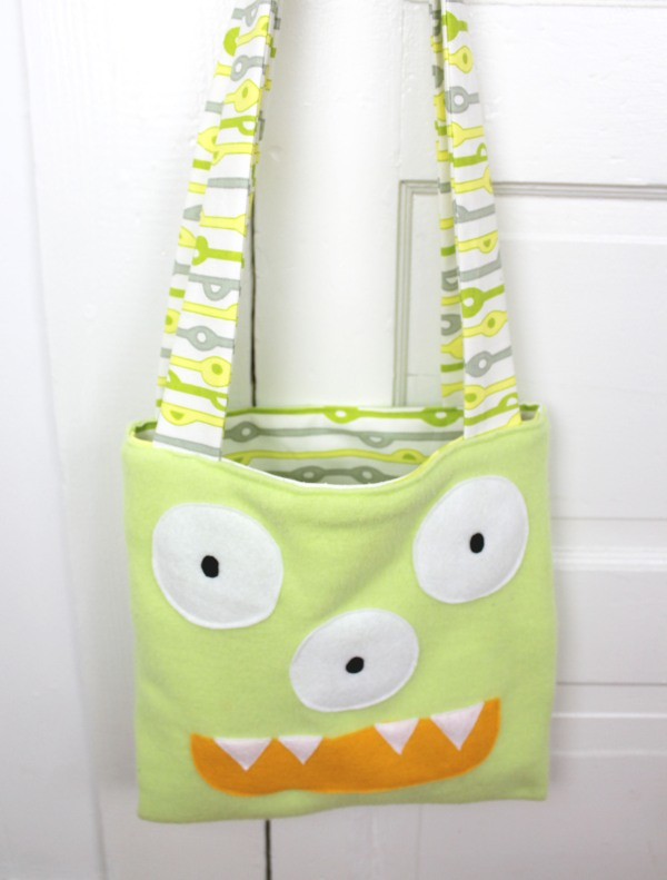 handmade green monster trick or treat tote