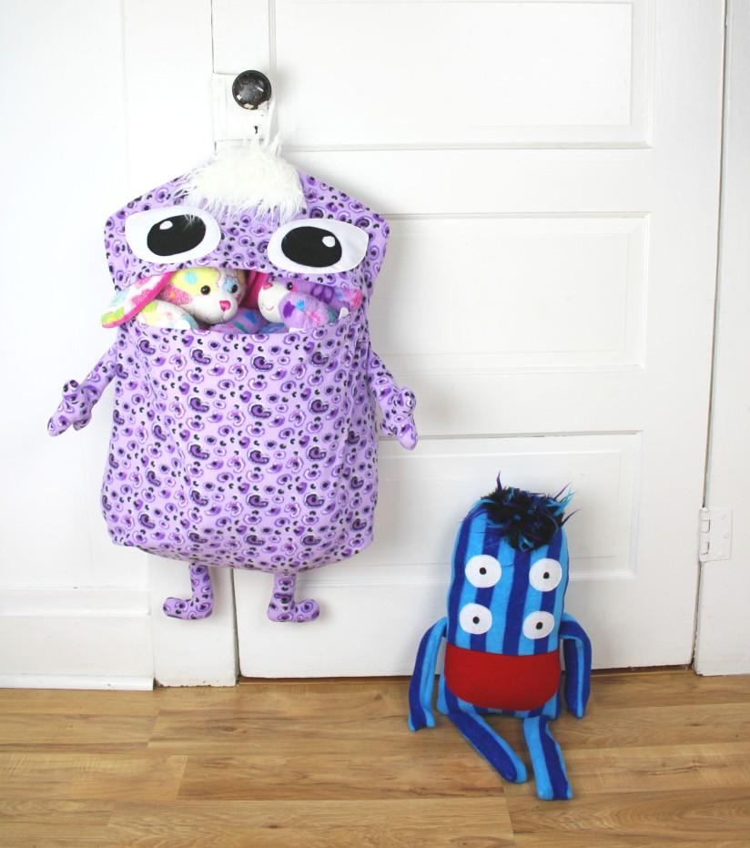 neat laundry toy storage monster bag for kids handmade in asheville