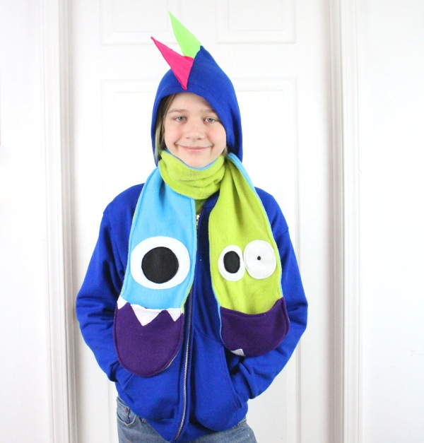 cute handmade scarf for kids with mouths for pockets handcrafted in asheville nc.JPG